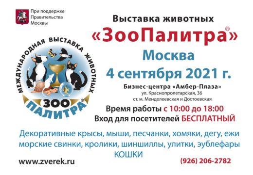 4 сентября 2021 года в Москве в Бизнес-центре «Амбер Плаза», ул. Краснопролетарская, 36 (ст. м.: Менделеевская и Достоевская) состоится выставка домашних животных «ЗооПалитра».
